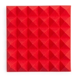 "Gator Frameworks Acoustic Treatment Pyramid Panels - 12""x12"" Red 4-Pack"